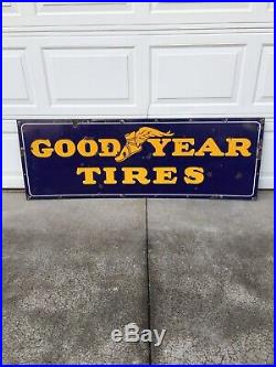 Vintage Porcelain Goodyear Tires Sign 64 X 24 Guaranteed Authentic