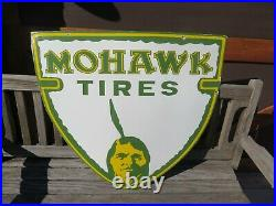 Vintage Porcelain Mohawk Tires Sign 36 by 30 Inches