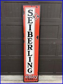 Vintage Porcelain SEIBERLING TIRE TIRES Sign Gas Oil Sign
