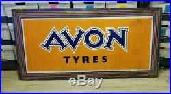 Vintage Porcelain Sign Avon Tyres Tires Gas service station man cave RARE