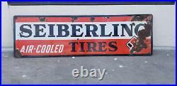 Vintage Porcelain Sign Sieberling Tires Automobile Gas Oil