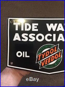 Vintage Porcelain Tide Water Tydol Oil Veedol Sign pump NOS plate gas tire