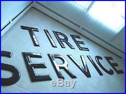 Vintage Porcelain Tire Service Sign Letters 24 Gas Station Oil