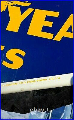 Vintage RARE 1958 2sided Goodyear Tire Display Rack Gas Gasoline Diamond Sign
