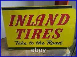 Vintage RARE Inland Tires Flange sign, Vintage Flanged Sign, 21 x 14