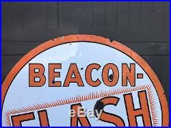 Vintage RARE Porcelain BEACON-FLASH Gasoline OIL TIRE AUTO Sign 42
