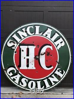 Vintage RARE Porcelain SINCLAIR HC Gasoline OIL TIRE AUTO Sign 48