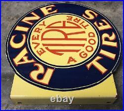 Vintage Racine Tires Flange Double Sided 14.5 Porcelain Gas Oil Sign
