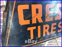 Vintage Rare 1940s/1950s Crest Tires Metal Tire Stand Display Gas Station Sign