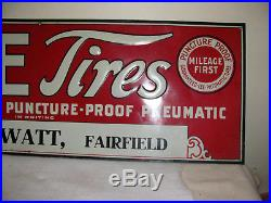 Vintage Rare 35 1/2 x 11 3/4 Smiles at Miles Lee Tires Sign