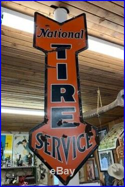 Vintage Rare Early 1900's National Tire Service Gas Station Metal Sign