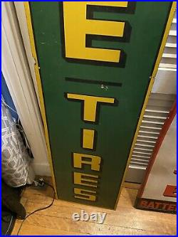 Vintage Rare Masonite Ww2 Horizontal Lee Tires Sign Labeled For 1944