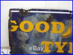 Vintage Rare Original Good Year Porcelain Sign Old Good Year Tyre Enamel Sign