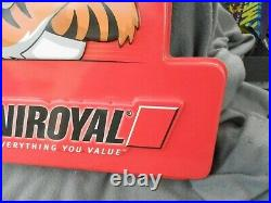 Vintage Rare Uniroyal Tire Tiger Plastic Embossed Sign Estate Find