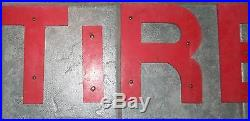 Vintage Red Wood Letters TIRES Advertising Sign-Gas Station- Garage-Gas-Oil