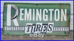 Vintage Remington Tires Embossed Tin Sign Original