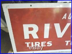 Vintage Riverside Authorized Dealer Porcelain Sign Tires Tubes Batt. 70 X 22