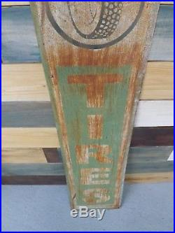 Vintage Rusty Metal Tires Dealer Sign Vertical GAS OIL SODA COLA 48 x 12