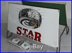 Vintage STAR TIRES Gas Station Dealer Tire Display Stand Rack advertising sign