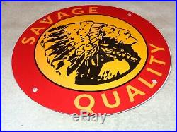 Vintage Savage Quality Tires Indian 11 3/4 Porcelain Metal Gasoline & Oil Sign