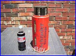 Vintage Schrader Tire gauge Cabinet tin sign display Gas oil original 1920s part