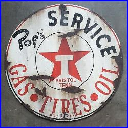 Vintage Texaco Sign Pops Service Station Bristol Tennessee GAS TIRES OIL