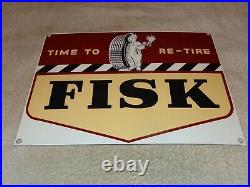Vintage Time To Re-tire Fisk Tires Yawning Boy 13 Porcelain Metal Gas Oil Sign