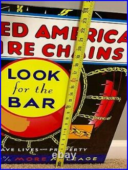 Vintage Tire Chains Advertising Weed American Automotive Metal Gas Oil 24 Sign