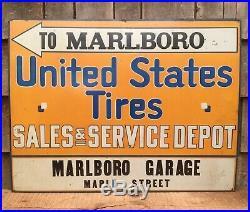 Vintage UNITED STATES TIRES Marlboro Garage Sales Gas Service Station Sign