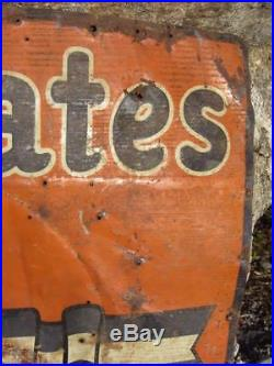 Vintage US TIRES METAL Sign c. 1974 OIL CAN gas station EARLY TIN TACKER