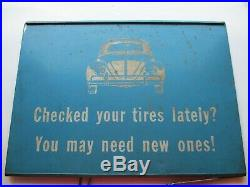 Vintage VW metal display tire sign RARE circa 1967 and earlier