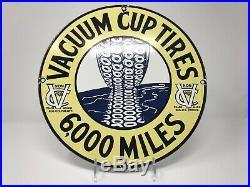 Vintage Vacuum Cup Cord Tires Porcelain Sign, Oil, Gas, Pennsylvania, Service