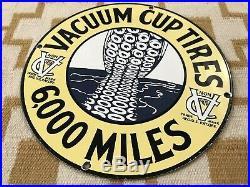 Vintage Vacuum Cup Tires Porcelain Sign Oil Gas Pennsylvania Service Michelin