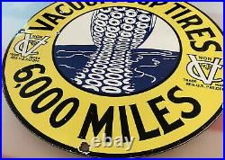 Vintage Vacuum Cup Tires Porcelain Sign, Service Station, Gasoline, Motor Oil