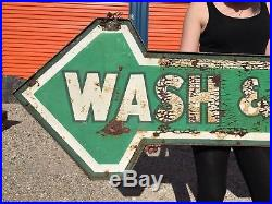 Vintage Wash and Dry Metal Sign National Tire Service Bracket Painted Arrow