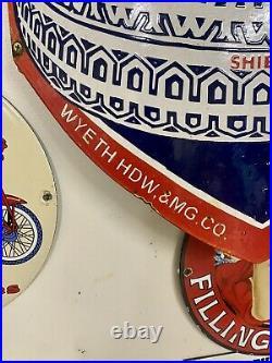 Vintage Wyeth Tires Curved 28.5 Porcelain Gas & Oil Pole Sign