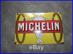 Vintage advertising enamelled plaque michelin tire cycle porcelain sign enamel