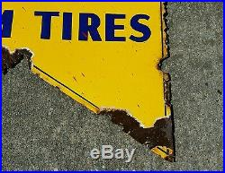 Vintage advertising goodyear farm tires porcelain sign display