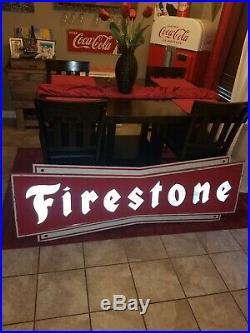 Vintage c. 1960 Firestone Tires Gas Station Metal Sign