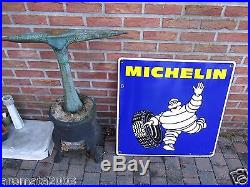 Vintage enamel porcelain sign MICHELIN tires BIBENDUM Rare export version! 1975