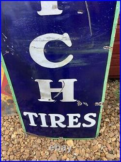 Vintage original 1930s Goodrich tires vertical 78x18 porcelain enamel auto sign
