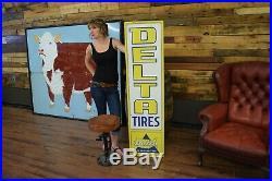 Vintage original Gas Station Delta Tires sign Service Garage Advertising