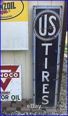Vintage original porcelain gas oil advertising sign US United States Tires ships