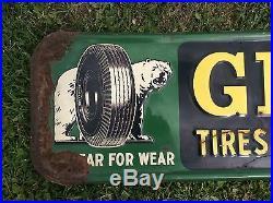 Vtg 1949 Gillette Tires Polar Bear Metal Tin Advertising Sign 73x 18 Rare