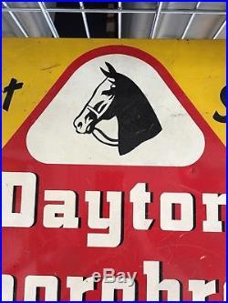 Vtg 1950s Original Dayton Thorobred Tires Sign Not Porcelain Gas Station Oil