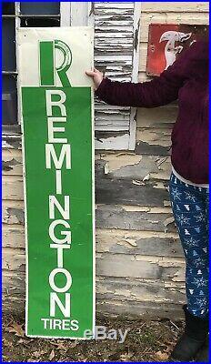 Vtg 1960's Remington Tires 60 Metal Advertising Sign Gas & Oil Service Station