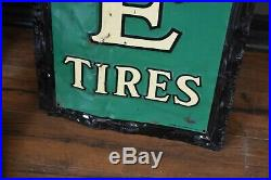 Vtg Antique 1940' Gas Cities Service Oil Tin Metal sign Acme Tires Rough Patina