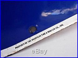 Vtg GOODYEAR TIRES Porcelain Metal Advertising Sign Single Side 5' x 32 Orig