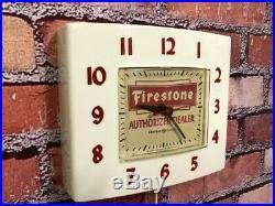 Vtg Ge Firestone Tire Dealer-old Advertising Gas Station Oil Wall Clock Sign