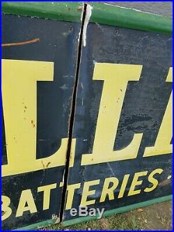 Vtg Gillette Tires Batteries Accessories A Bear For Wear Embossed Metal Sign